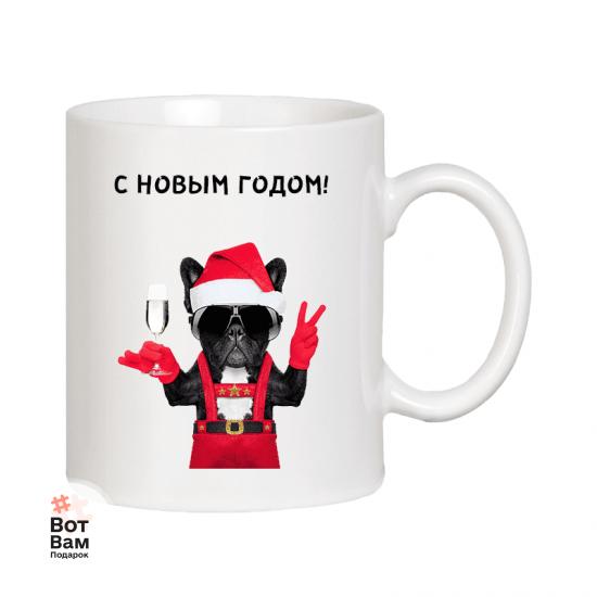 """Чашка с собакой """"С Новым годом!"""" купить в Харькове"""