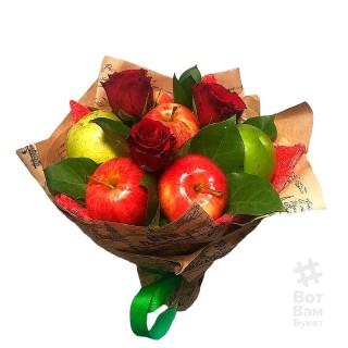 Яблочный букет с розами купить в Харькове