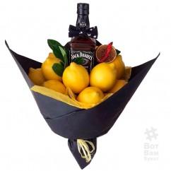 Мужской букет из лимонов и виски Джек Дениелс
