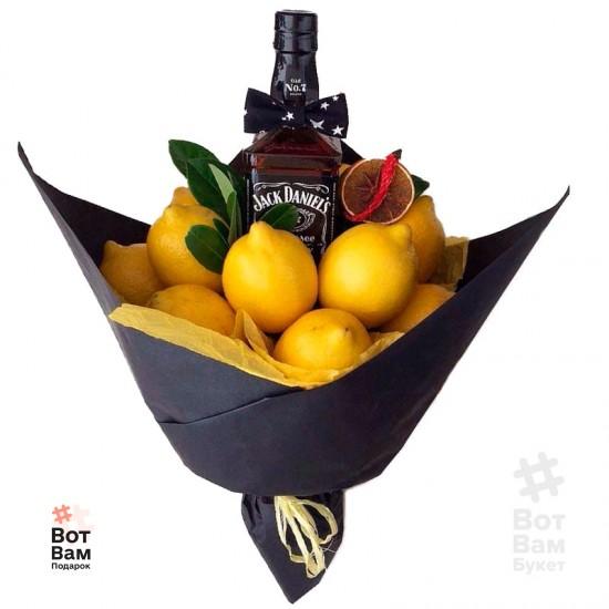 Мужской букет из лимонов и виски Джек Дениелс купить в Харькове