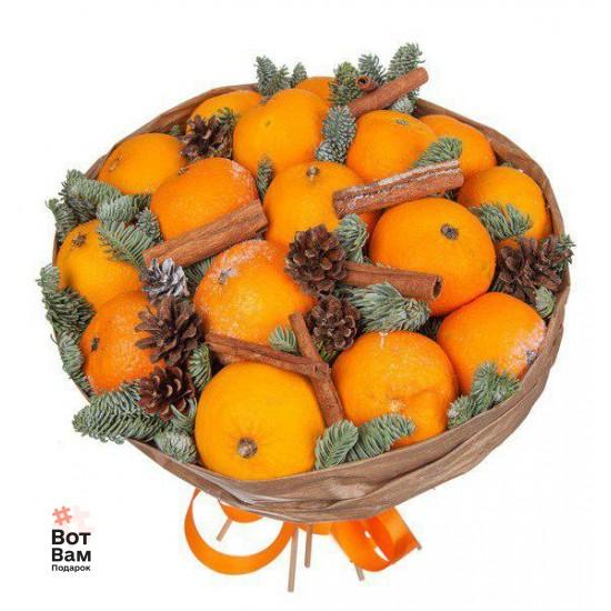 Новогодний букет из мандарин и корицей купить в Харькове