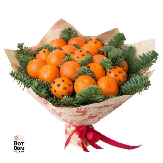 Букет с мандарином и елью купить в Харькове