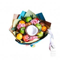 Букет с кокосом и фруктами