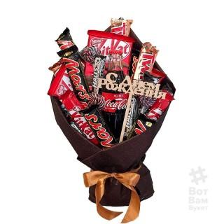 Конфетный букет из батончиков ко Дню Рождения купить в Харькове