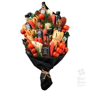 Мужской букет из алкоголя и колбасы купить в Харькове