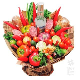 Овощной букет с водкой Финляндия купить в Харькове