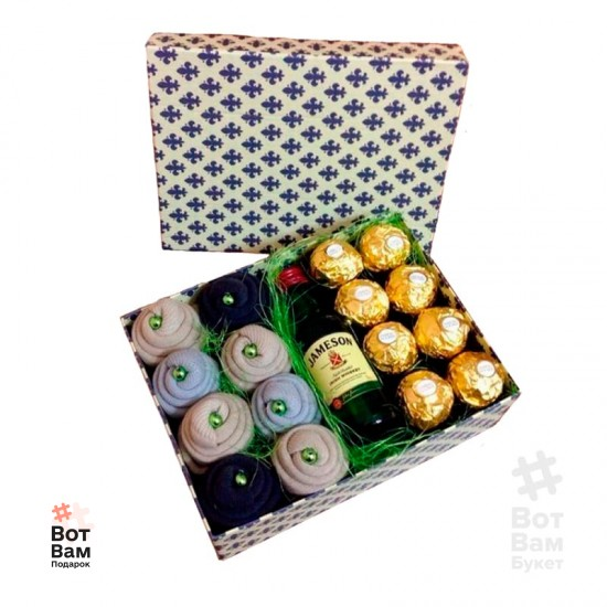 Подарочная коробка из носков и виски купить в Харькове