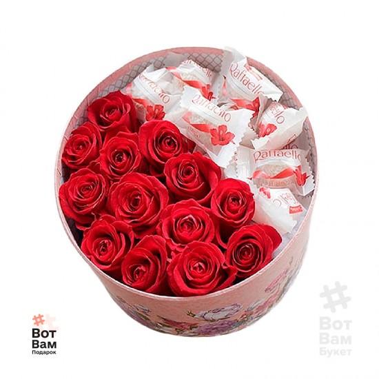 Коробка 13 роз и рафаелло купить в Харькове